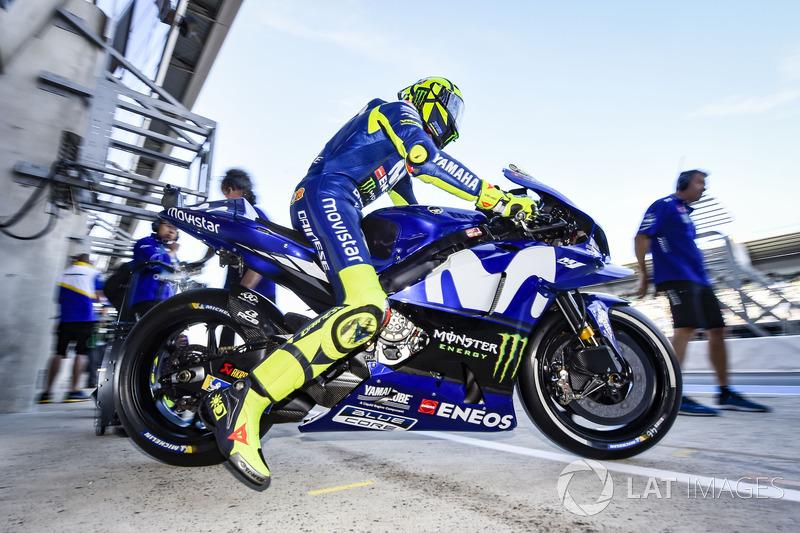 """Valentino Rossi: """"Fizemos a escolha de pneus correta. Eu sabia que poderia... quer dizer, eu sabia que era mais rápido que em Jerez. Eu queria tentar o pódio, porque seria um resultado importante para mim, para a minha equipe e para a Yamaha."""""""
