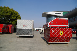 Haas F1 and Ferrari cargo containers