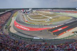 Sebastian Vettel, Ferrari SF71H, Valtteri Bottas, Mercedes AMG F1 W09, Kimi Raikkonen, Ferrari SF71H, y Max Verstappen, Red Bull Racing RB14