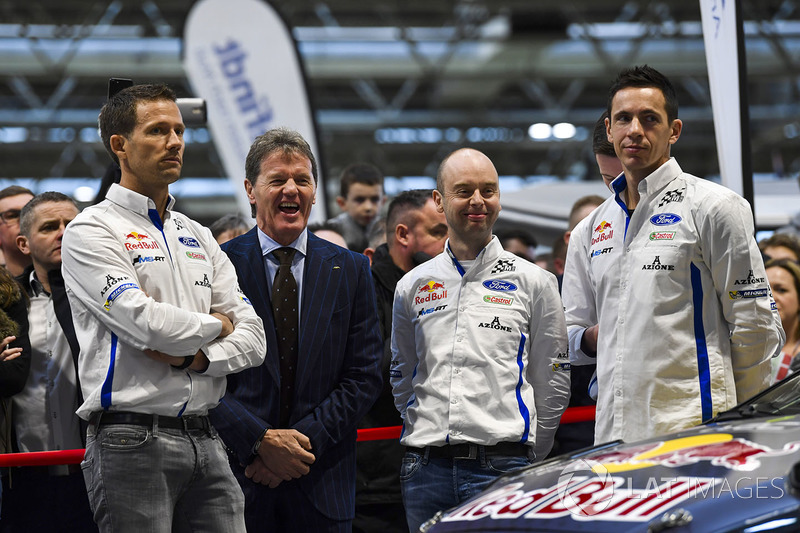 Sébastien Ogier, Malcolm Wilson, Elfyn Evans and co-drivers Julien Ingrassia and Daniel Barritt, M-S