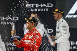 Podium: Sebastian Vettel, Ferrari andLewis Hamilton, Mercedes AMG F1