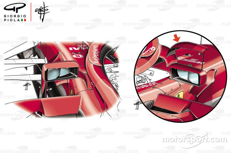 Ferrari SF71H vergelijking van de spiegels