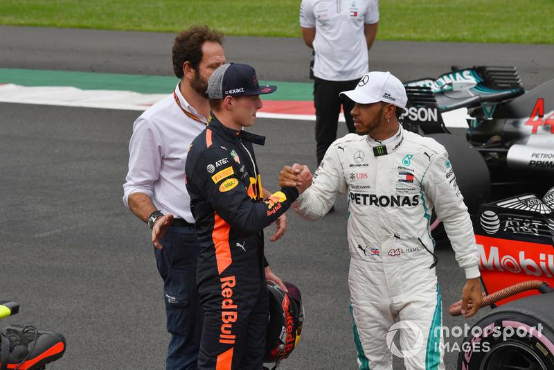 Max Verstappen, Red Bull Racing y Lewis Hamilton, Mercedes AMG F1 celebra en Parc Ferme