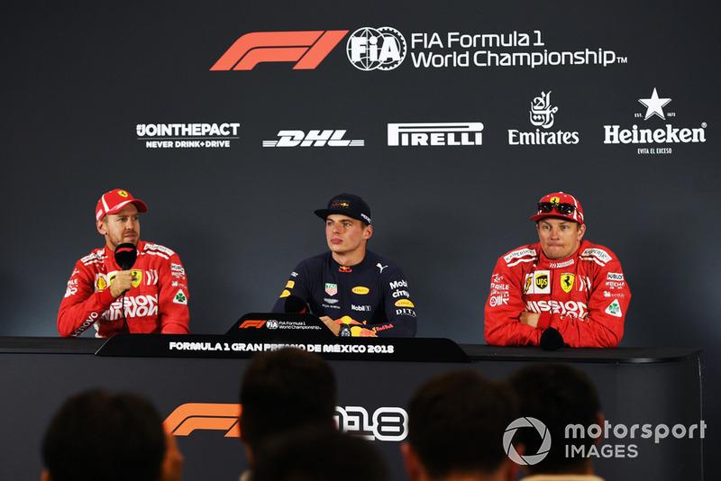 Sebastian Vettel, Ferrari, Max Verstappen, Red Bull Racing y Kimi Raikkonen, Ferrari en conferencia de prensa
