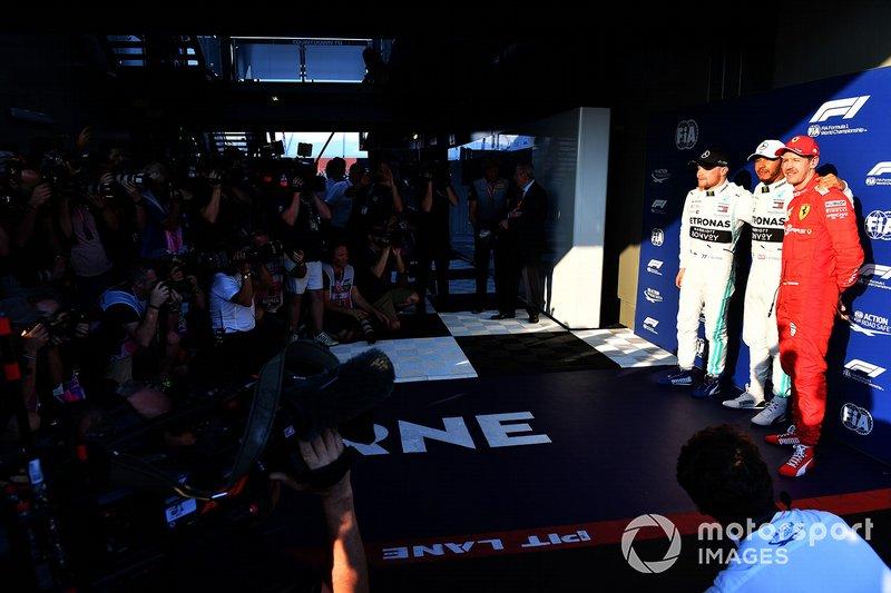 Valtteri Bottas, Mercedes AMG F1, Pole Sitter Lewis Hamilton, Mercedes AMG F1, Sebastian Vettel, Ferrari