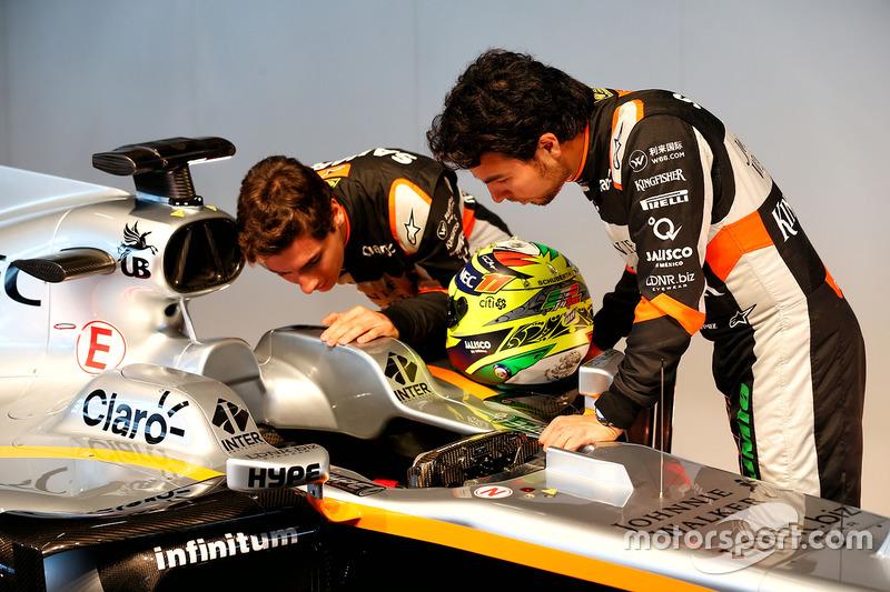 Esteban Ocon en Sergio Perez, Sahara Force India F1 met de Sahara Force India F1 VJM10