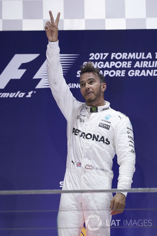 Race winner Lewis Hamilton, Mercedes AMG F1, celebrates victory on the podium
