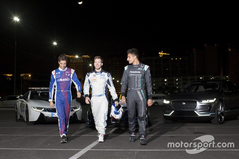 Antonio Felix da Costa, Amlin Andretti Formula E Team, con Sam Bird, DS Virgin Racing y Mitch Evans, Jaguar Racing