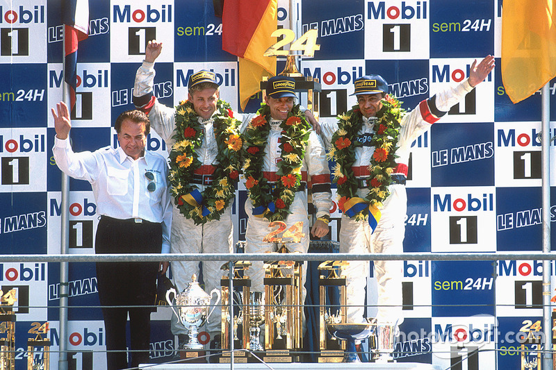 Podium: winners Tom Kristensen, Stefan Johansson, Michele Alboreto, Joest Racing TWR Porsche with Reinhold Joest