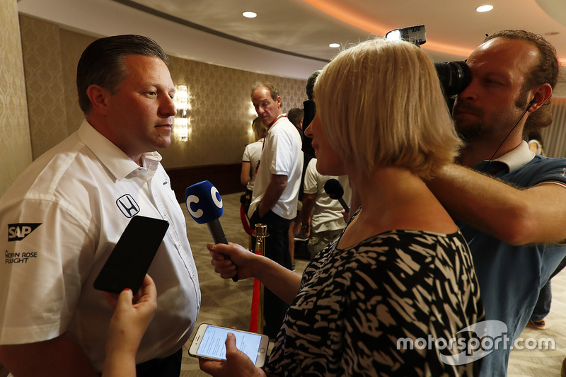 Zak Brown, Executive Director, McLaren Technology Group talks to the media after announcing Fernando Alonso's deal to race in the 2017 Indianapolis 500 in an Andretti Autosport run McLaren Honda car