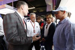 Sean Bratches, Managing Director of Commercial Operations, Formula One Group, Chase Carey, Chairman, Formula One, Woody Harrelson