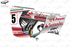 Alerón trasero y monkey seat del Ferrari SF70H en el GP de Italia