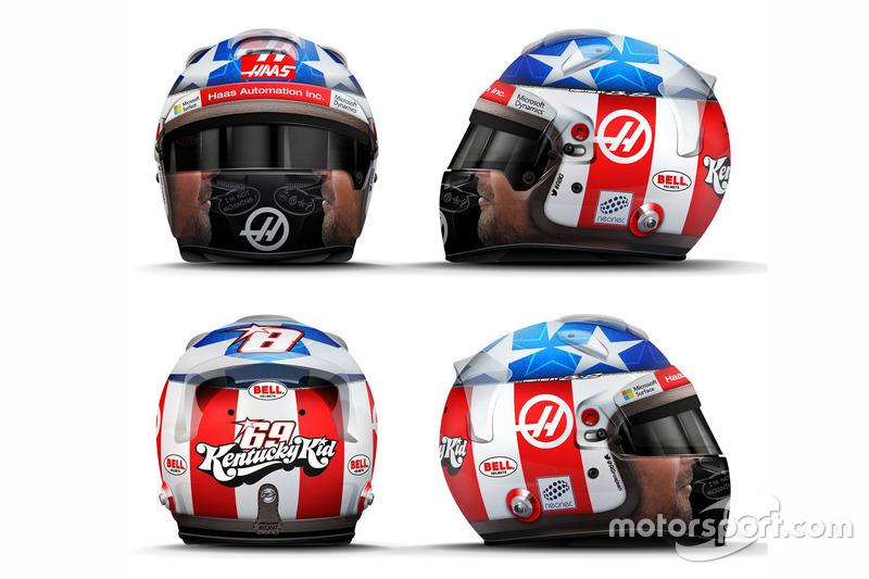 Casque de Romain Grosjean en hommage à Nicky Hayden