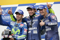 Podium: winner Valentino Rossi, second place Marco Melandri, third place Colin Edwards