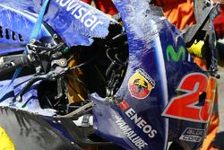 La moto chocada de Maverick Viñales, Yamaha Factory Racing