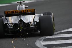 Nico Hulkenberg, Renault Sport F1 Team RS17, throws up some sparks
