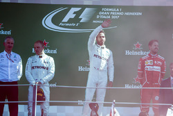 Race winner Lewis Hamilton, Mercedes AMG F1, Second place Third place Valtteri Bottas, Mercedes AMG F1 Sebastian Vettel, Ferrari, on the podium