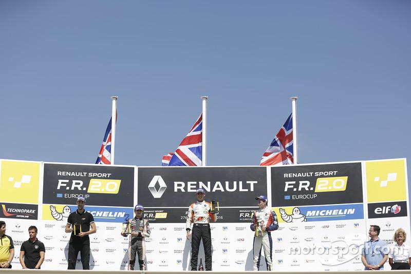 Podium: winner Harrison Scott, AVF by Adrian Valles, second place Lando Norris, Josef Kaufmann Racing, third place Will Palmer, R-ace GP