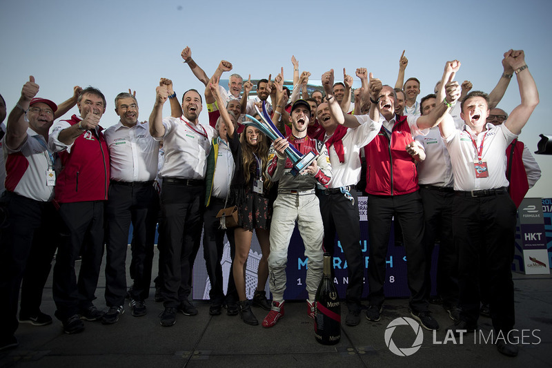 Daniel Abt, Audi Sport ABT Schaeffler, celebrates after winning the race