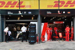 Mercedes AMG F1 garage and Ferrari garage