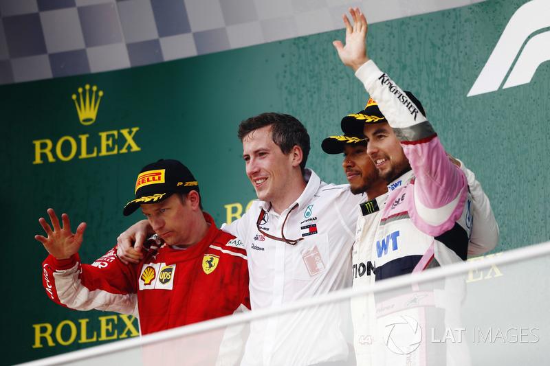 Podyum: Yarış galiba, Lewis Hamilton, Mercedes-AMG F1, 2. Kimi Raikkonen, Ferrari, 3. Sergio Perez, Force India