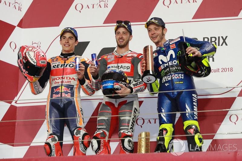 Podium MotoGP Qatar 2018: Marc Marquez, Repsol Honda Team,  Andrea Dovizioso, Ducati Team, Valentino Rossi, Yamaha Factory Racing