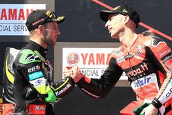 Podium: race winner Marco Melandri, Aruba.it Racing-Ducati SBK Team, second place Jonathan Rea, Kawasaki Racing