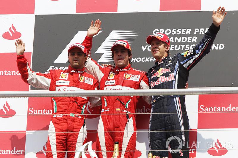 2010: 1. Fernando Alonso, 2.Felipe Massa, 3. Sebastian Vettel