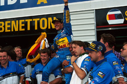 Michael Schumacher, Benetton celebrates his world title with the Benetton team
