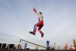 Race winner Felix Rosenqvist, Mahindra Racing, celebrates on the podium after winning the race