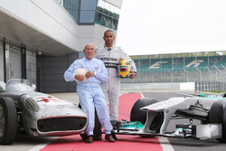 Sir Stirling Moss, Mercedes-Benz W196 and Lewis Hamilton, Mercedes AMG F1