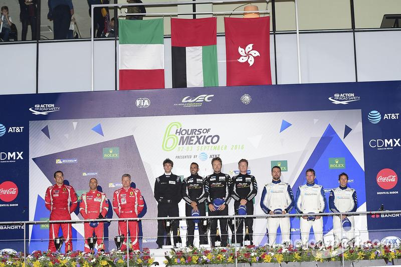 LM GTE Am podium: first place Khaled Al Qubaisi, David Heinemeier Hansson, Patrick Long, Proton Racing, second place Francois Perrodo, Emmanuel Collard, Rui Aguas, AF Corse, third place Christian Ried, Wolf Henzler, Joël Camathias, KCMG