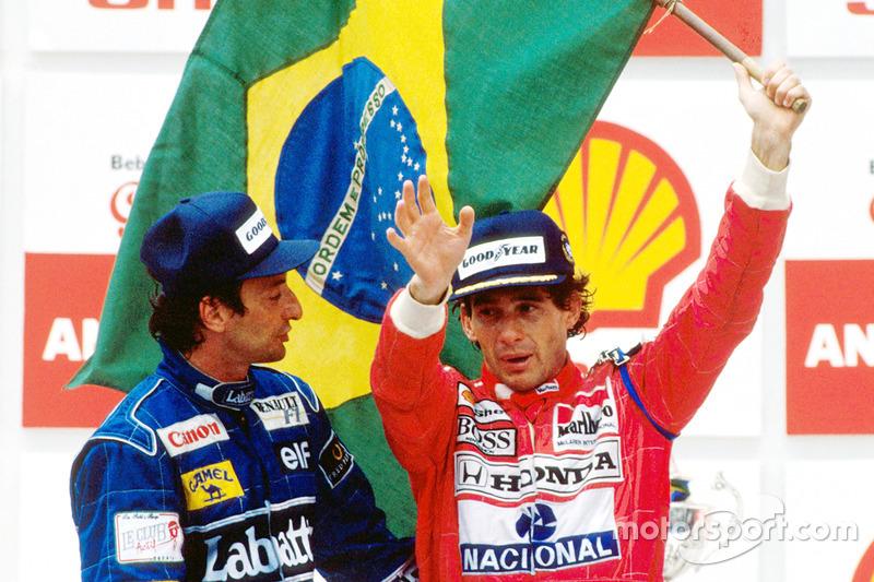 Podyum: Yarış galibi Ayrton Senna, McLaren,ikinci sıra Riccardo Patrese, Williams