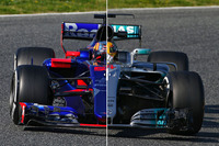 Komparasi Toro Rosso STR12 vs Mercedes W08 di trek