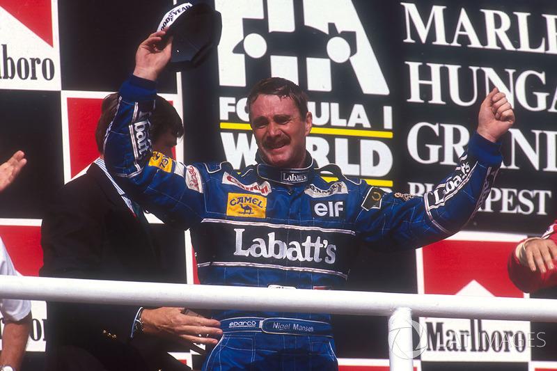 Nigel Mansell, Williams Renault merayakan keberhasilan merebut gelar juara dunia