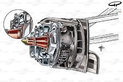 Sauber C33 front brake detail (Inset, aperture for caliper cooling)