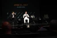 Stoffel Vandoorne, McLaren, is interviewed on stage