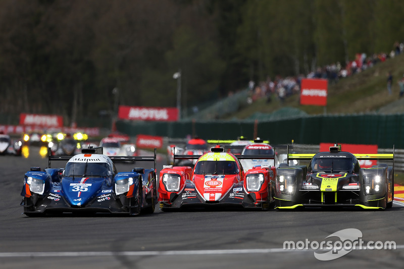 #35 Signatech Alpine A470 Gibson: Pierre Ragues, André Negrao, Nelson Panciatici, #24 CEFC Manor Oreca 07 Gibson: Tor Graves, Jonathan Hirschi, Jean-Éric Vergne, #4 ByKolles Racing CLM P1/01: Oliver Webb, Dominik Kraihamer, James Rossiter