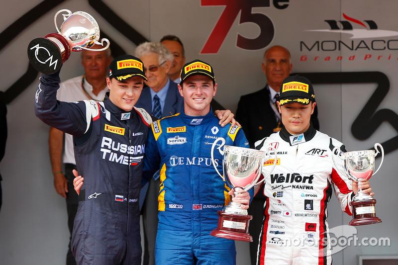 Podium : le vainqueur Oliver Rowland, DAMS, le deuxième Artem Markelov, RUSSIAN TIME, le troisième Nobuharu Matsushita, ART Grand Prix