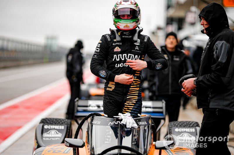 Pato O'Ward about to do battle with COTA's wet and treacherous track surface in his #5 Arrow McLaren SP Chevrolet.
