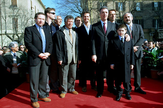 Modena 1998, Jean Todt, Mario Andretti, Eddie Irvine, Michael Schumacher, Luca Di Montezemolo, Piero Ferrari With his nephew Enzo and the mayor of Modena on the 100th Anniversary of the birth of Enzo Ferrari
