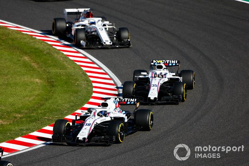 Lance Stroll, Williams FW41, devance Sergey Sirotkin, Williams FW41, et Marcus Ericsson, Sauber C37