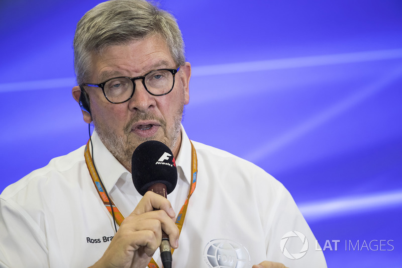 Ross Brawn, Managing Director of Motorsports, FOM, attends a press conference with representatives of DHL