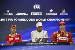 Race winner Lewis Hamilton, Mercedes AMG F1, second place Sebastian Vettel, Ferrari, third place Kimi Raikkonen, Ferrari
