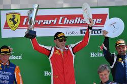 James Camp, Scuderia Corsa - Ferrari South Bay celebrates on the podium
