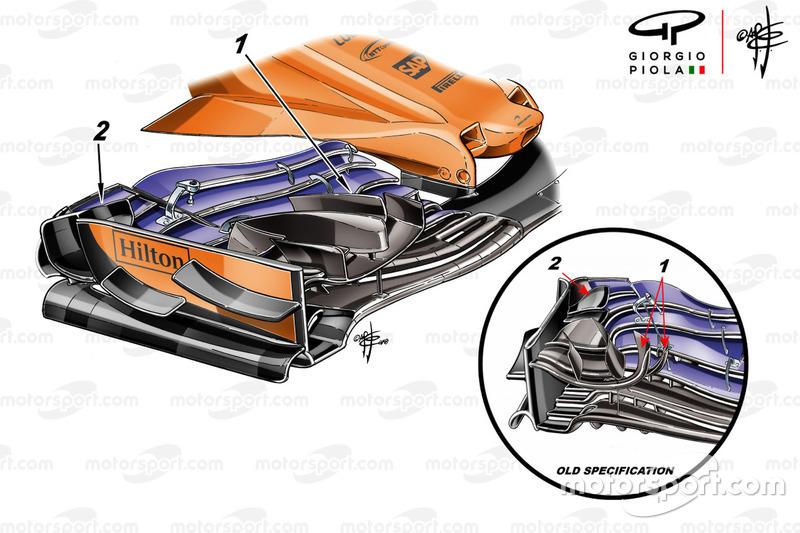 Alerón delantero del McLaren MCL33 para el GP de Mónaco GP