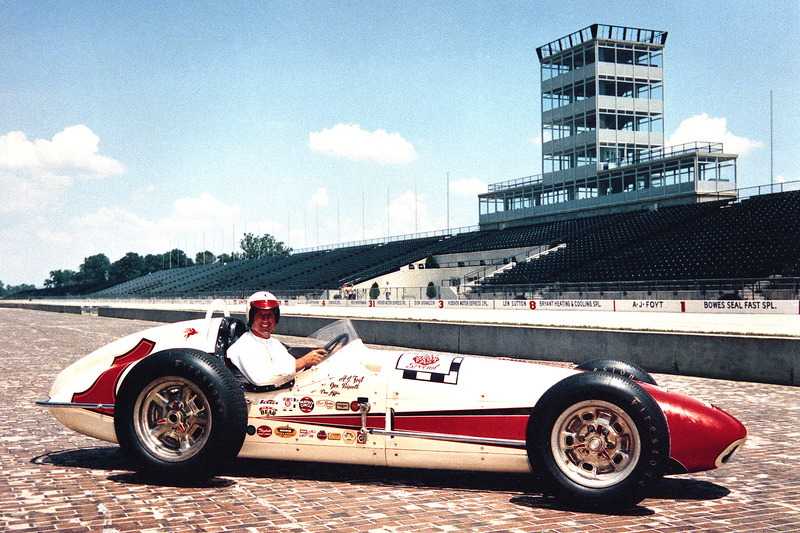 Foyt the morning after winning the 1961 Indianapolis 500 aboard his Bowes Seal Fast Trevis-Offy.
