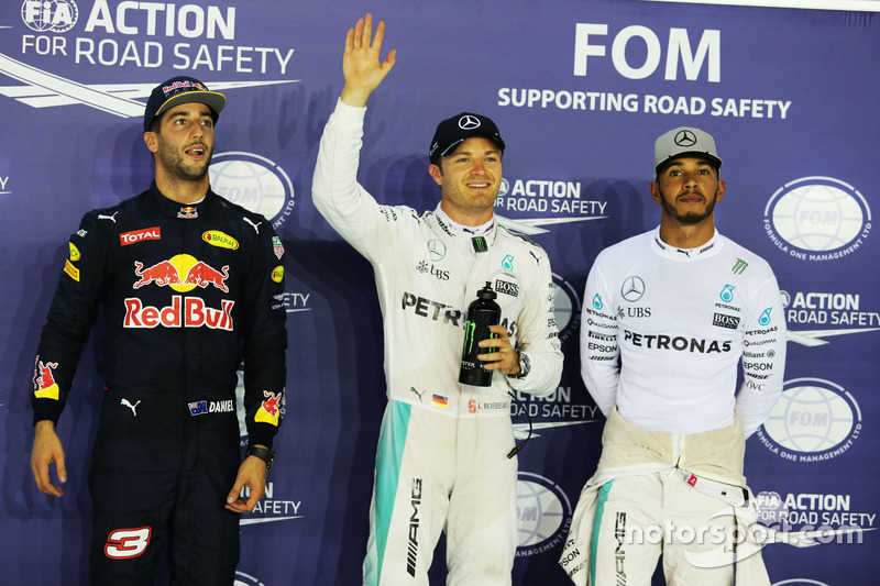 Qualifying top three in parc ferme (L to R): Daniel Ricciardo, Red Bull Racing, second; Nico Rosberg, Mercedes AMG F1, pole position; Lewis Hamilton, Mercedes AMG F1, third