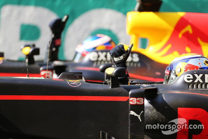 Max Verstappen, Red Bull Racing RB12 celebrates with team mate and race winner Daniel Ricciardo, Red Bull Racing RB12 at the end of the race