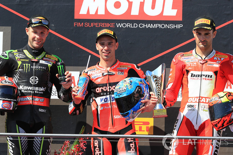 Podium: race winner Marco Melandri, Aruba.it Racing-Ducati SBK Team, second place Jonathan Rea, Kawasaki Racing, third place Xavi Fores, Barni Racing Team